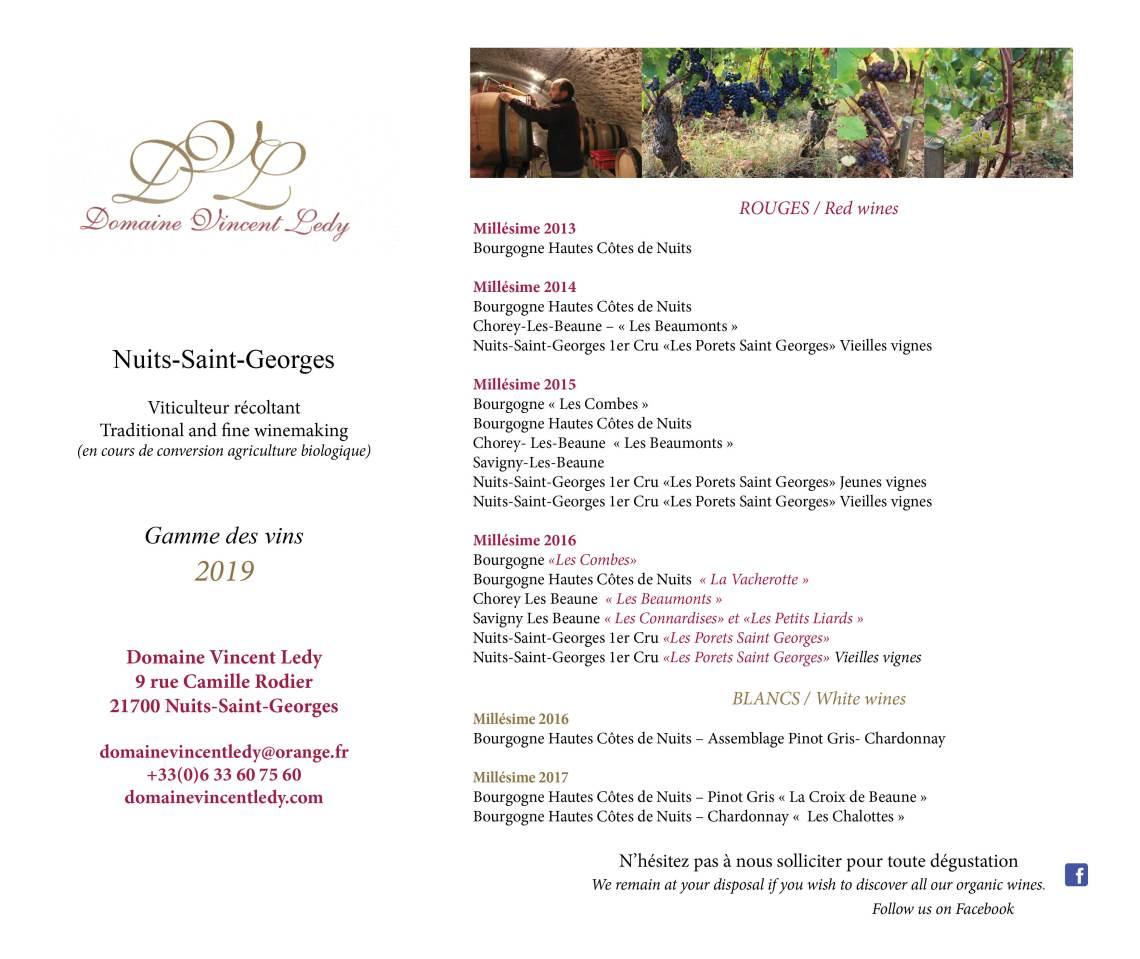 gamme des vins Domaine Vincent Ledy 01012019